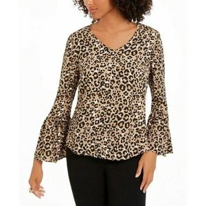 Ny Collection Blouse Leopard PL New